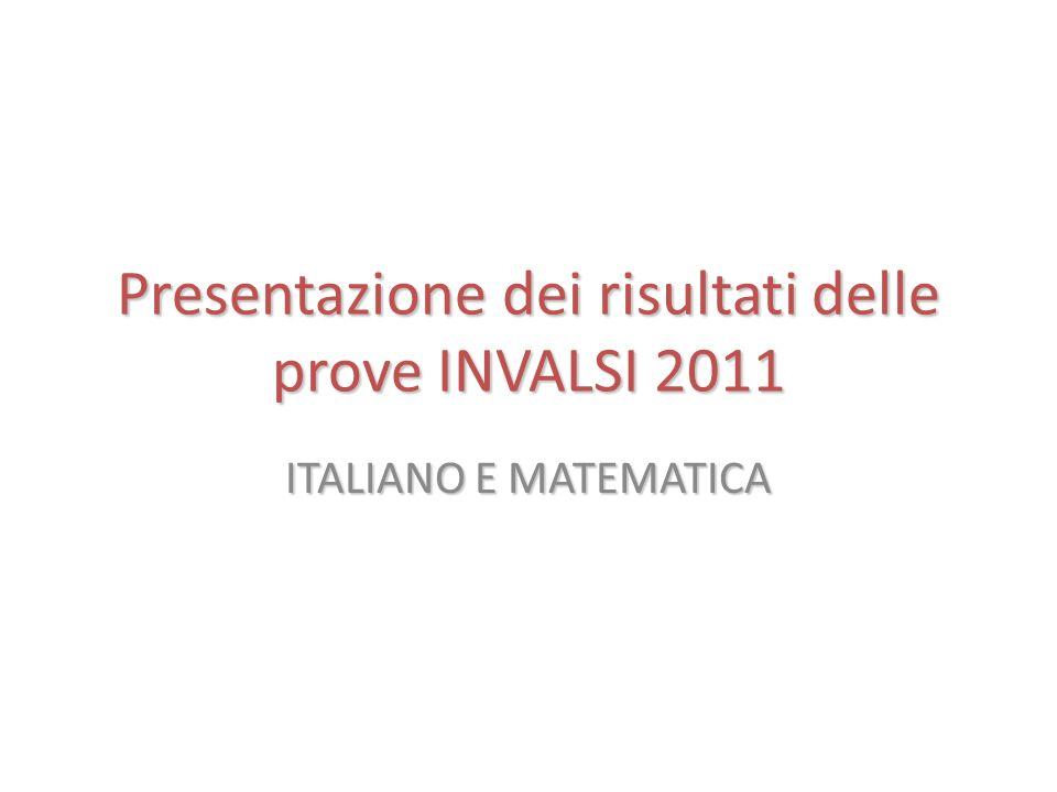 Presentazione dei risultati delle prove INVALSI 2011 ITALIANO E MATEMATICA