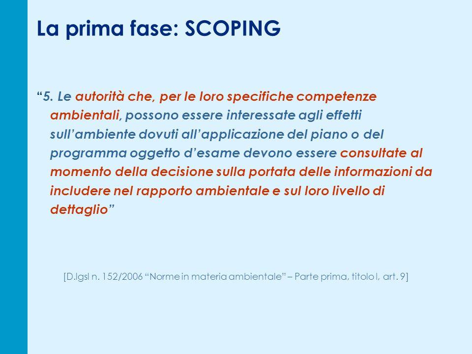 La prima fase: SCOPING 5.