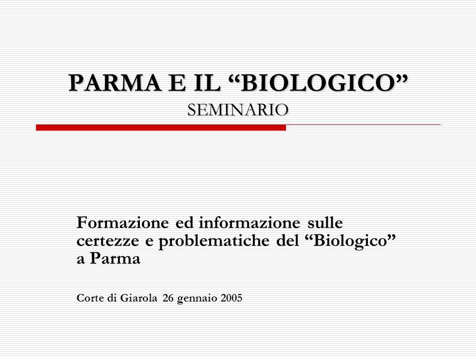 PARMA E IL BIOLOGICO SEMINARIO Formazione ed informazione sulle certezze e problematiche del Biologico a Parma Corte di Giarola 26 gennaio 2005