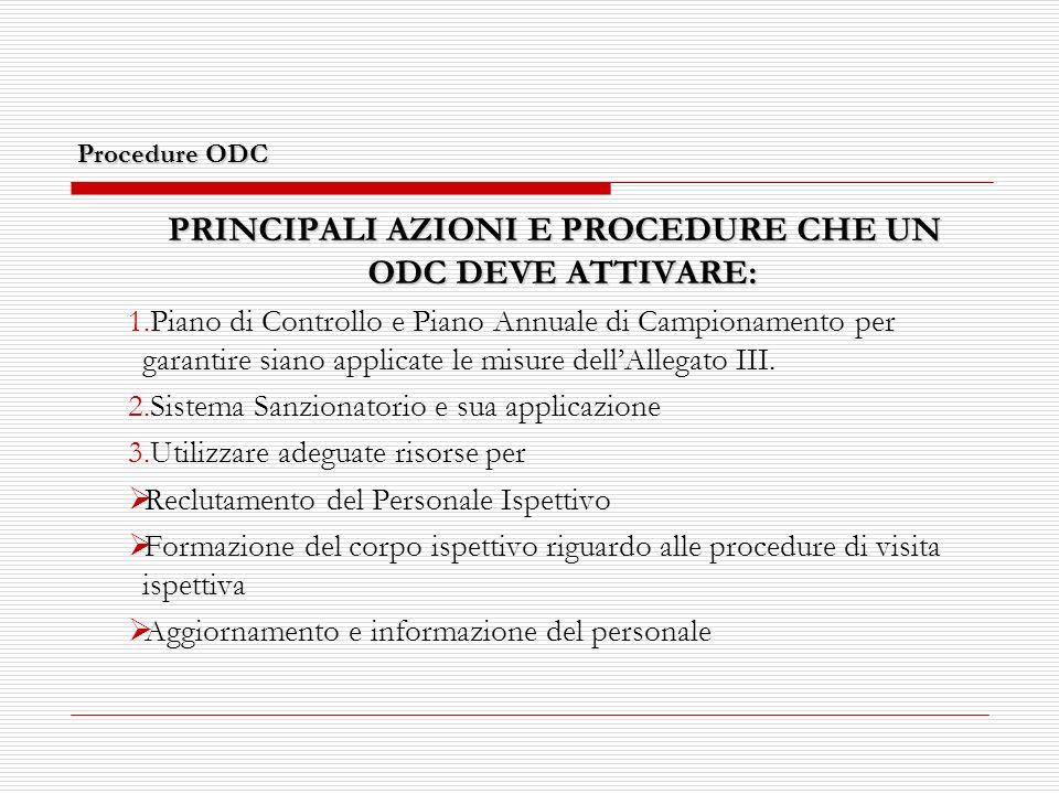 Procedure ODC PRINCIPALI AZIONI E PROCEDURE CHE UN ODC DEVE ATTIVARE: 1.Piano di Controllo e Piano Annuale di Campionamento per garantire siano applicate le misure dellAllegato III.