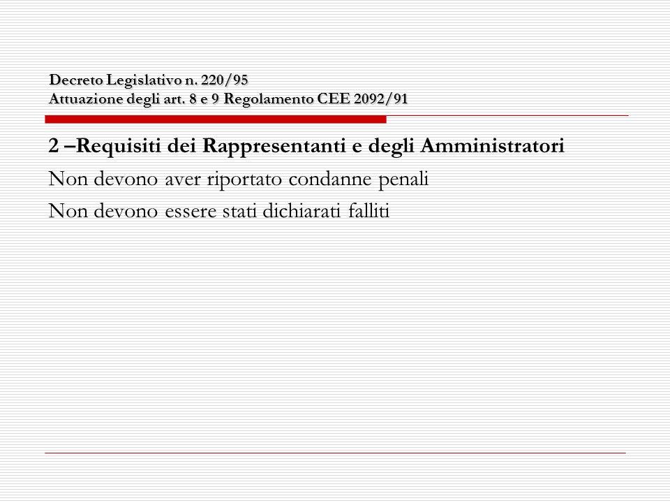 Decreto Legislativo n. 220/95 Attuazione degli art.