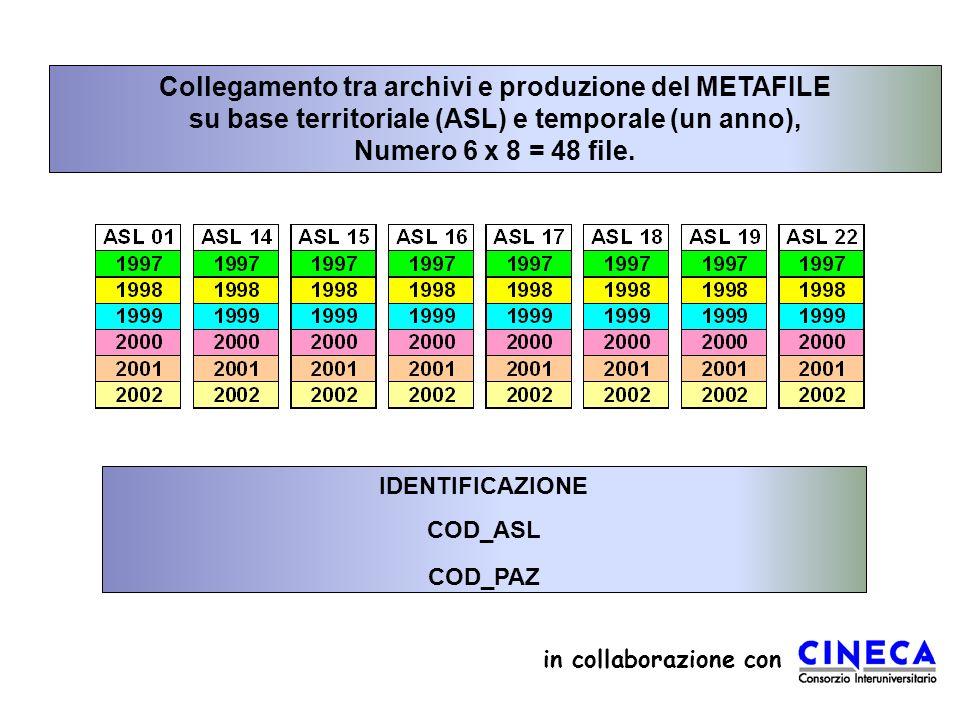 Collegamento tra archivi e produzione del METAFILE su base territoriale (ASL) e temporale (un anno), Numero 6 x 8 = 48 file.