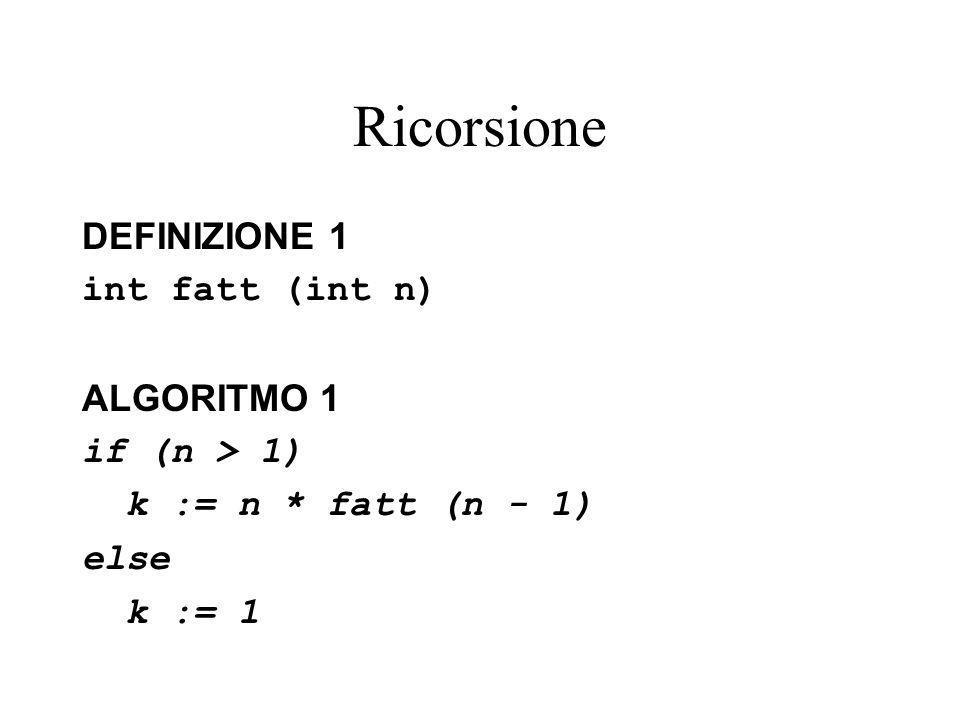 Ricorsione DEFINIZIONE 1 int fatt (int n) ALGORITMO 1 if (n > 1) k := n * fatt (n - 1) else k := 1