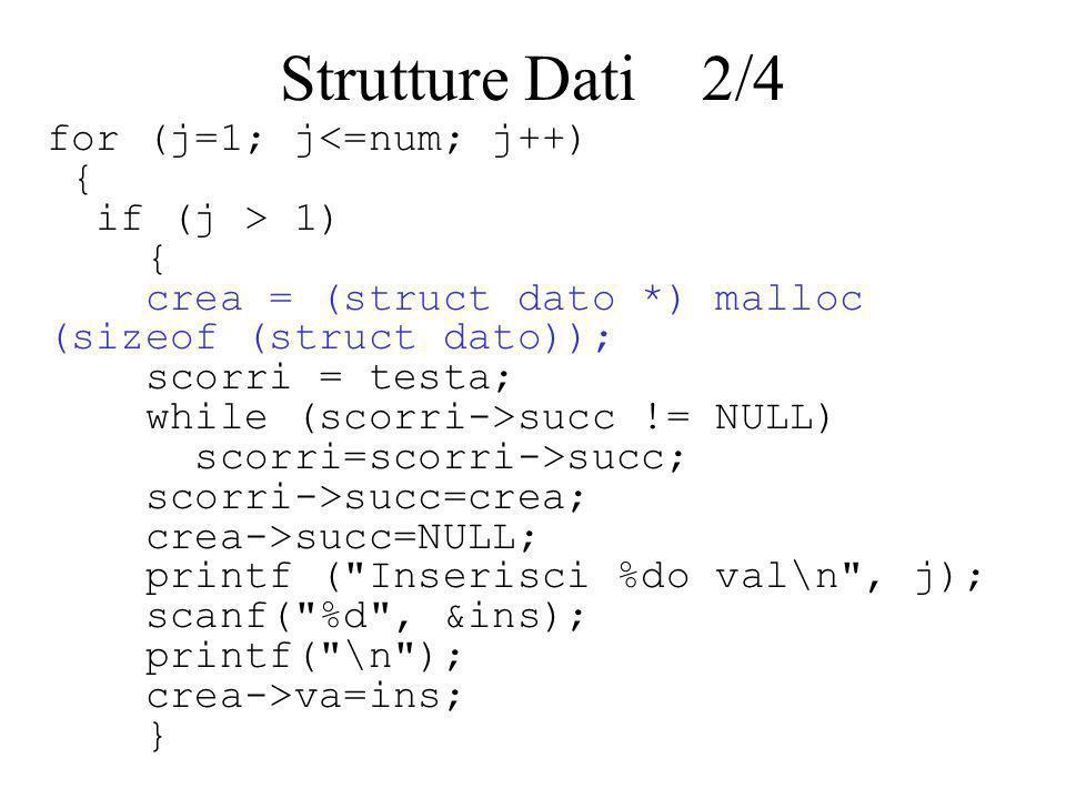 else { testa = (struct dato *) malloc (sizeof(struct dato)); printf ( Inserisci il %do valore\n , j); scanf( %d , &ins); printf( \n ); testa->va=ins; testa->succ=NULL; } Strutture Dati 3/4