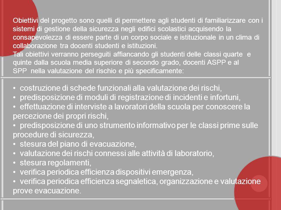 Obiettivi del progetto sono quelli di permettere agli studenti di familiarizzare con i sistemi di gestione della sicurezza negli edifici scolastici ac