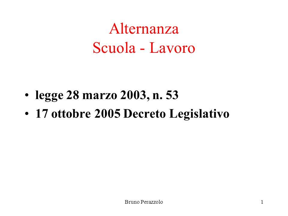 Bruno Perazzolo1 Alternanza Scuola - Lavoro legge 28 marzo 2003, n.