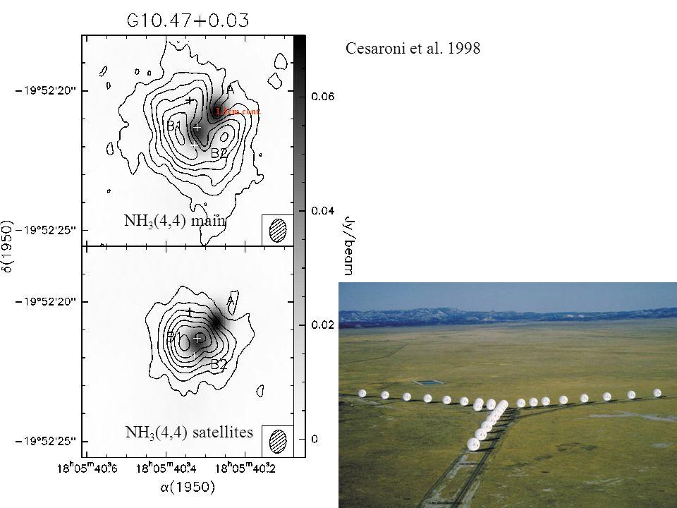 NH 3 (4,4) main NH 3 (4,4) satellites 1.3cm cont. Cesaroni et al. 1998