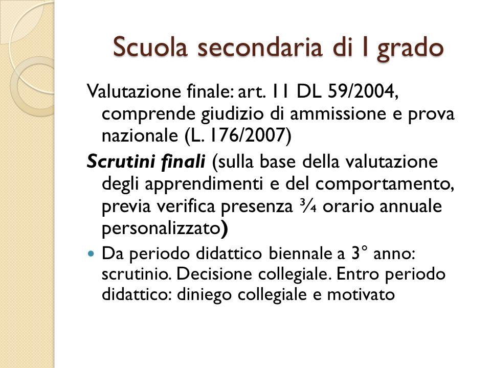 Scuola secondaria di I grado Valutazione finale: art. 11 DL 59/2004, comprende giudizio di ammissione e prova nazionale (L. 176/2007) Scrutini finali