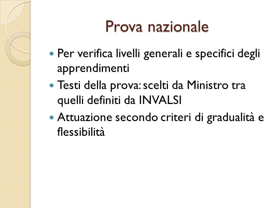 Prova nazionale Per verifica livelli generali e specifici degli apprendimenti Testi della prova: scelti da Ministro tra quelli definiti da INVALSI Att