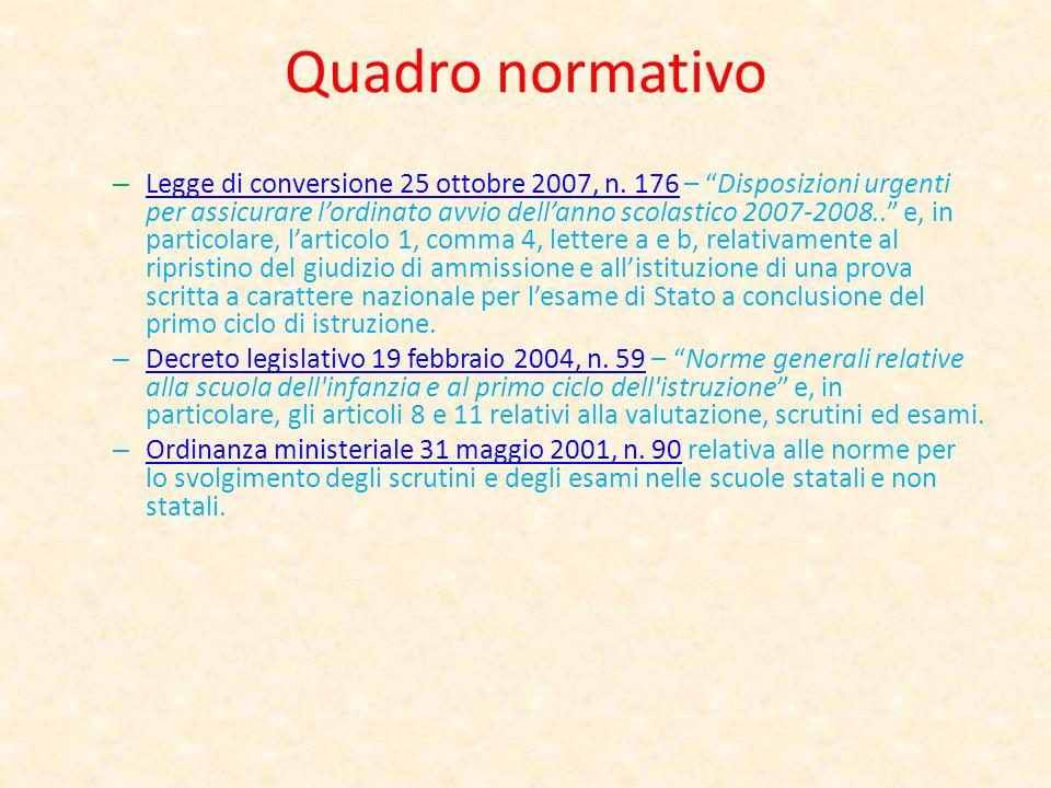 Quadro normativo – Legge di conversione 25 ottobre 2007, n. 176 – Disposizioni urgenti per assicurare lordinato avvio dellanno scolastico 2007-2008..