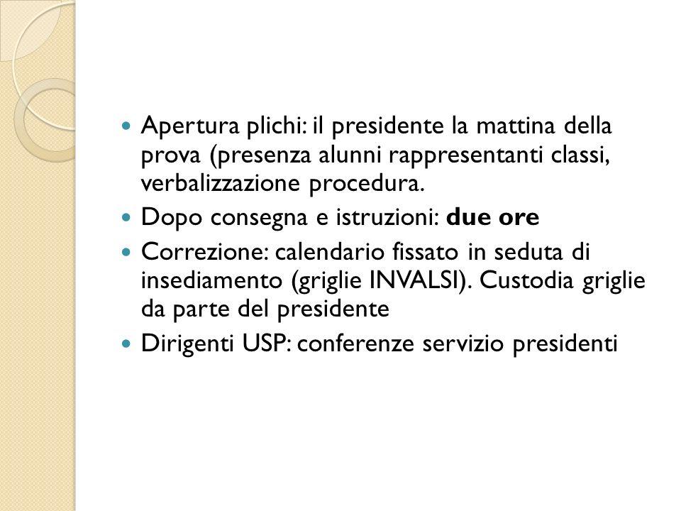 Apertura plichi: il presidente la mattina della prova (presenza alunni rappresentanti classi, verbalizzazione procedura. Dopo consegna e istruzioni: d