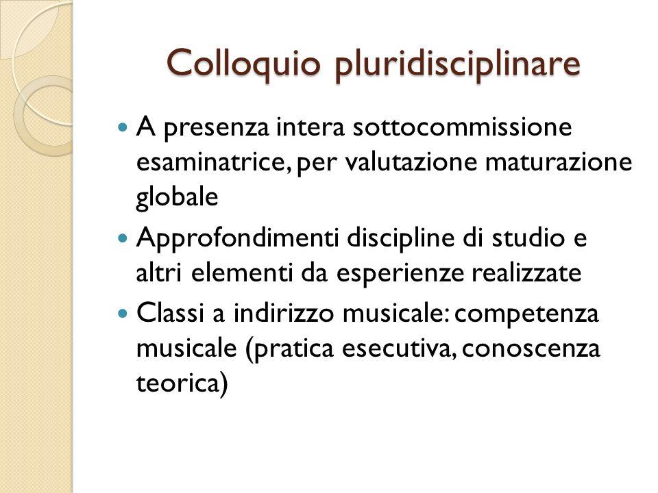 Colloquio pluridisciplinare A presenza intera sottocommissione esaminatrice, per valutazione maturazione globale Approfondimenti discipline di studio