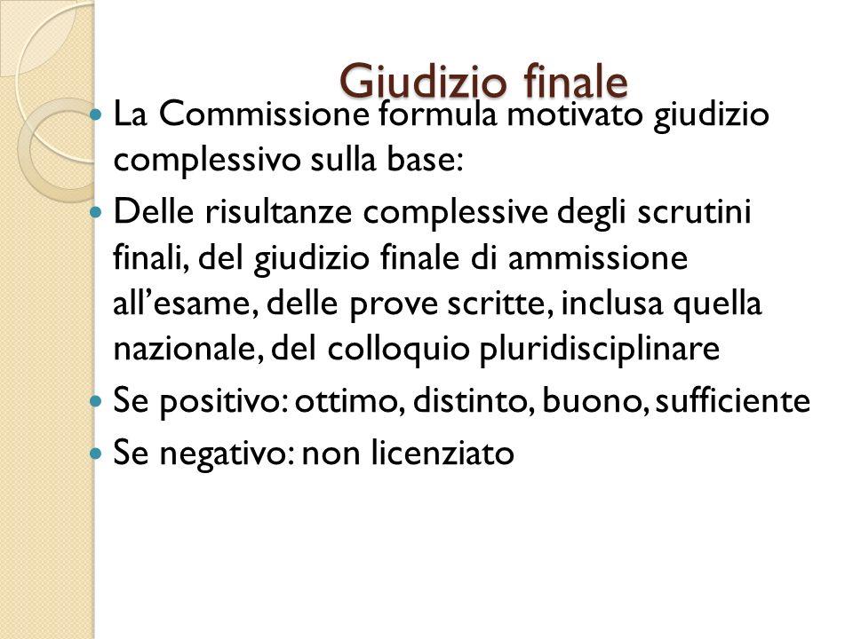Giudizio finale La Commissione formula motivato giudizio complessivo sulla base: Delle risultanze complessive degli scrutini finali, del giudizio fina