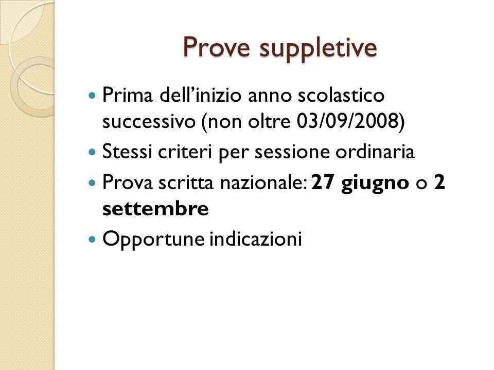 Prove suppletive Prima dellinizio anno scolastico successivo (non oltre 03/09/2008) Stessi criteri per sessione ordinaria Prova scritta nazionale: 27