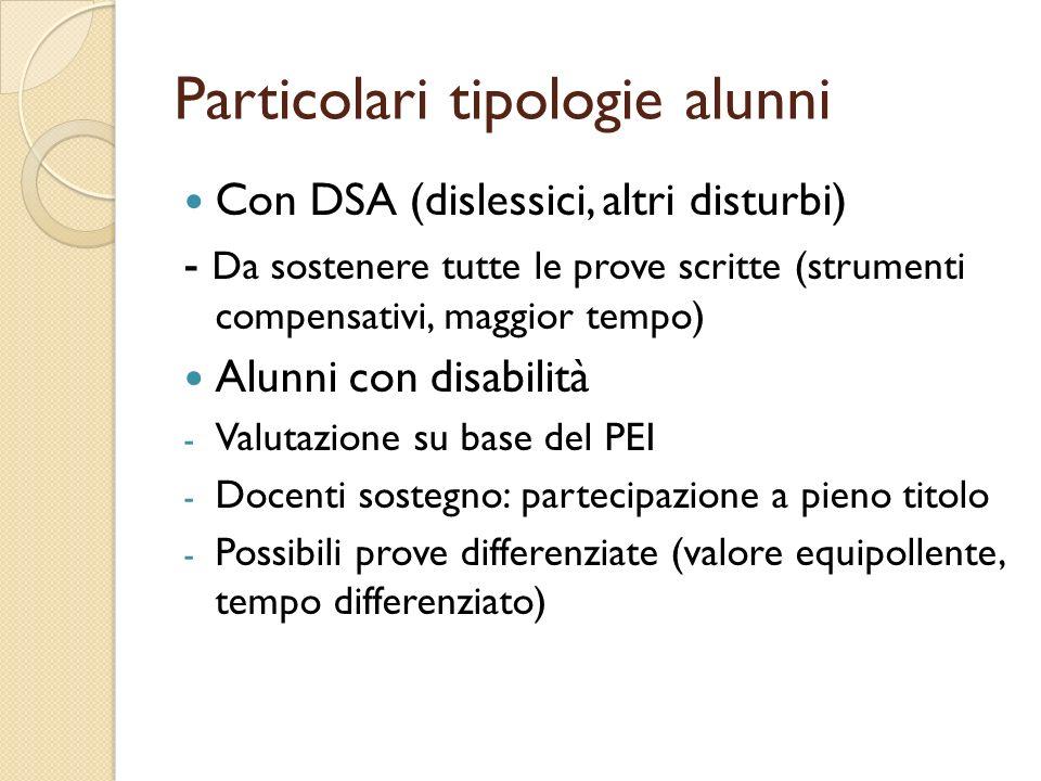 Particolari tipologie alunni Con DSA (dislessici, altri disturbi) - Da sostenere tutte le prove scritte (strumenti compensativi, maggior tempo) Alunni