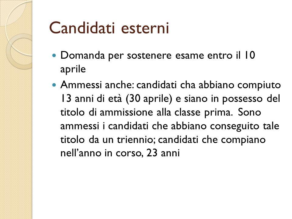 Candidati esterni Domanda per sostenere esame entro il 10 aprile Ammessi anche: candidati cha abbiano compiuto 13 anni di età (30 aprile) e siano in p