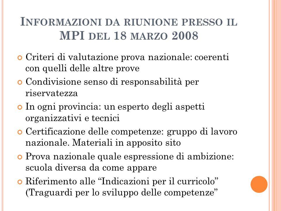 I NFORMAZIONI DA RIUNIONE PRESSO IL MPI DEL 18 MARZO 2008 Criteri di valutazione prova nazionale: coerenti con quelli delle altre prove Condivisione s