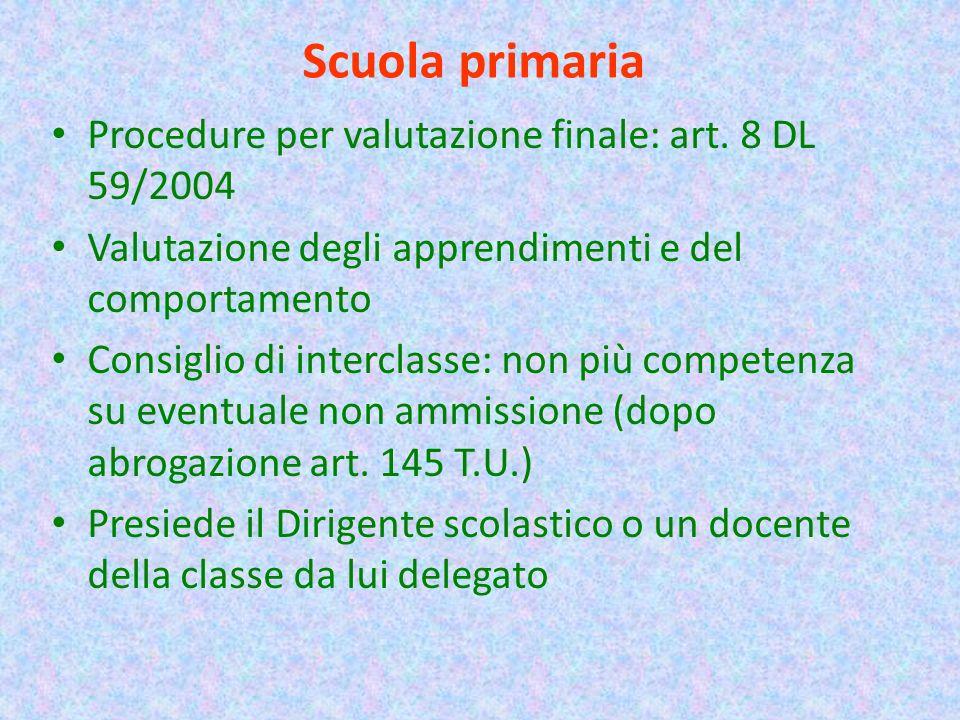 Scuola primaria Procedure per valutazione finale: art. 8 DL 59/2004 Valutazione degli apprendimenti e del comportamento Consiglio di interclasse: non