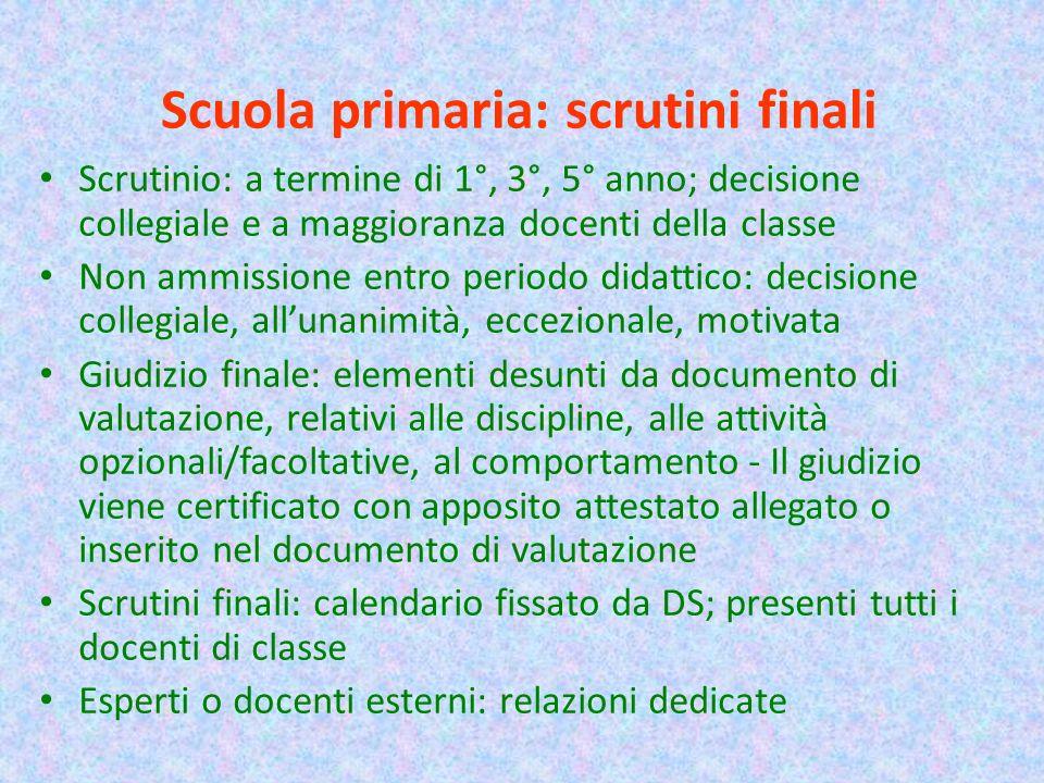 Scuola primaria: scrutini finali Scrutinio: a termine di 1°, 3°, 5° anno; decisione collegiale e a maggioranza docenti della classe Non ammissione ent
