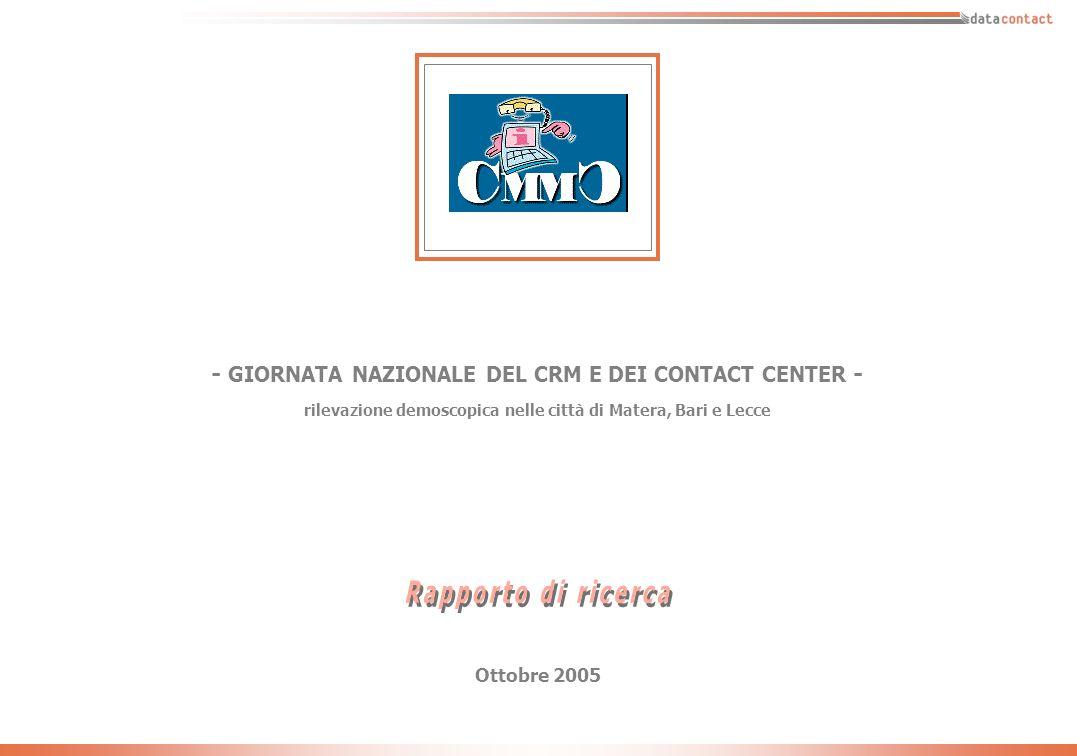 - 30 - Giornata CMMC - ottobre 2005 Ora per quello che lei sa/conosce di Datacontact vorrei chiederle quanto è daccordo con le seguenti affermazioni: * Il complemento a 100 è dato da coloro che non hanno espresso una valutazione (Non sa / non risponde) Matera (N=144) Bari (N=18) Lecce (N=21) Totale residenti - Matera, Bari e Lecce - (N=183)
