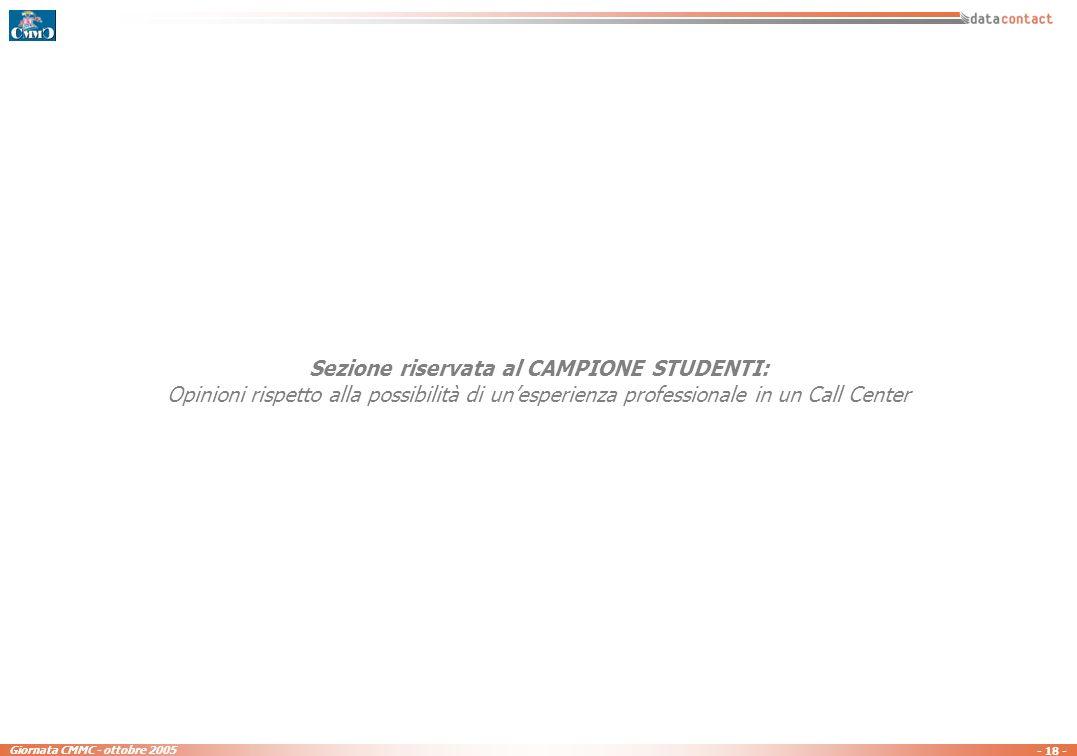 - 17 - Giornata CMMC - ottobre 2005 In futuro secondo Lei i servizi telefonici e multimediali offerti dai Call Center... - domanda riservata al campio