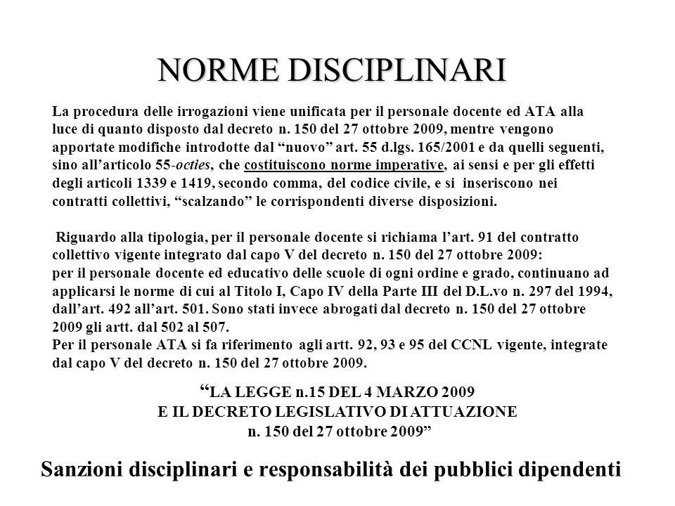 La procedura delle irrogazioni viene unificata per il personale docente ed ATA alla luce di quanto disposto dal decreto n.
