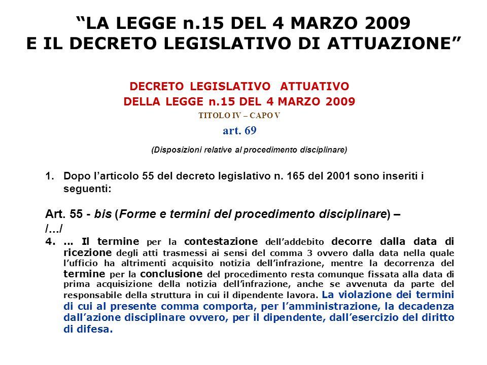 LA LEGGE n.15 DEL 4 MARZO 2009 E IL DECRETO LEGISLATIVO DI ATTUAZIONE DECRETO LEGISLATIVO ATTUATIVO DELLA LEGGE n.15 DEL 4 MARZO 2009 TITOLO IV – CAPO V art.