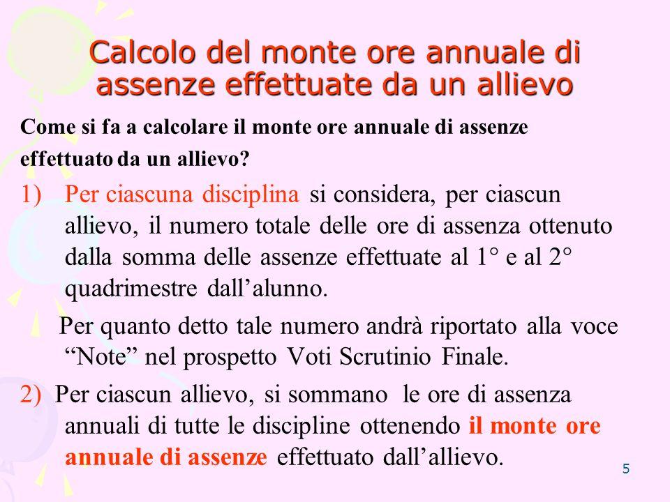 5 Calcolo del monte ore annuale di assenze effettuate da un allievo Come si fa a calcolare il monte ore annuale di assenze effettuato da un allievo.