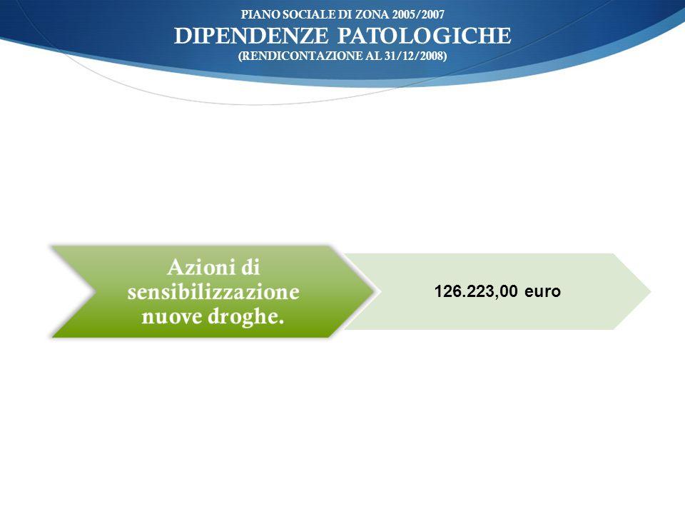 ù PIANO SOCIALE DI ZONA 2005/2007 DIPENDENZE PATOLOGICHE (RENDICONTAZIONE AL 31/12/2008) Azioni di sensibilizzazione nuove droghe. 126.223,00 euro