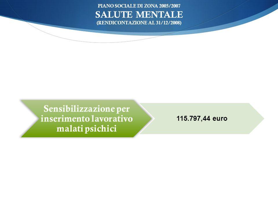 ù PIANO SOCIALE DI ZONA 2005/2007 SALUTE MENTALE (RENDICONTAZIONE AL 31/12/2008) Sensibilizzazione per inserimento lavorativo malati psichici 115.797,44 euro