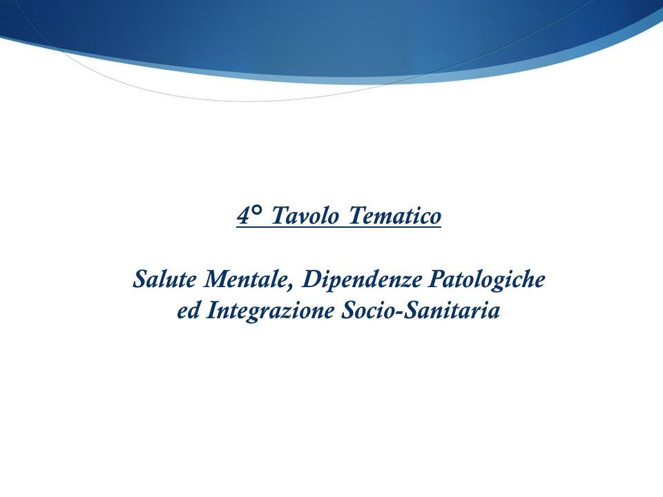 4° Tavolo Tematico Salute Mentale, Dipendenze Patologiche ed Integrazione Socio-Sanitaria