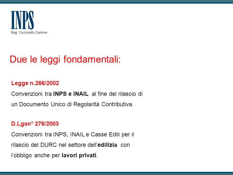 Due le leggi fondamentali: Legge n.266/2002 Convenzioni tra INPS e INAIL al fine del rilascio di un Documento Unico di Regolarità Contributiva. D.Lgsn