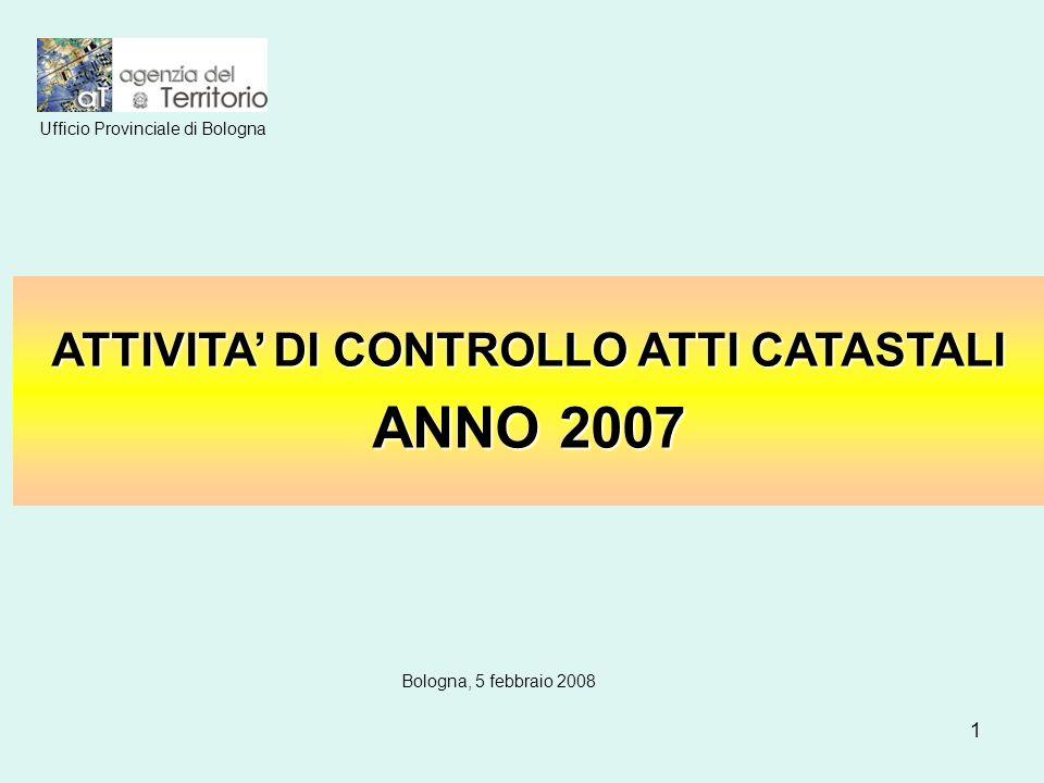 1 ATTIVITA DI CONTROLLO ATTI CATASTALI ANNO 2007 Ufficio Provinciale di Bologna Bologna, 5 febbraio 2008