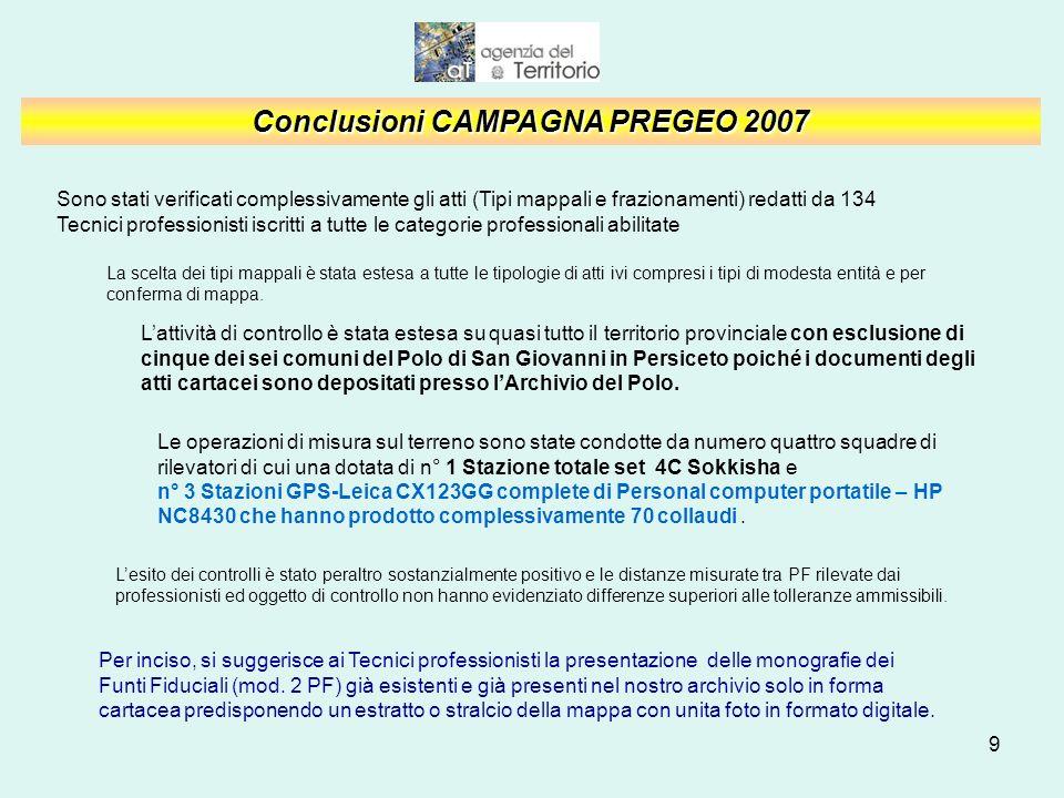 10 CONTROLLI SUGLI ATTI DI AGGIORNAMENTO DI CEU CAMPAGNA 2007 Ufficio Provinciale di Bologna