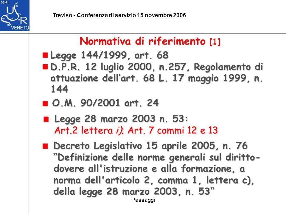 Passaggi Treviso - Conferenza di servizio 15 novembre 2006 Normativa di riferimento [1] Legge 144/1999, art.