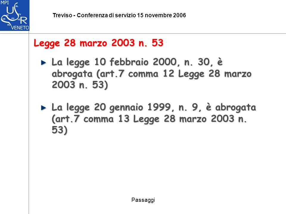 Passaggi Treviso - Conferenza di servizio 15 novembre 2006 Legge 28 marzo 2003 n.
