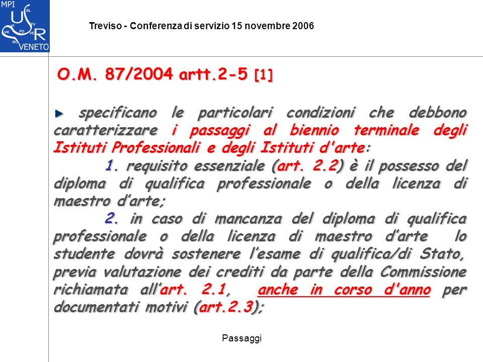 Passaggi Treviso - Conferenza di servizio 15 novembre 2006 O.M.