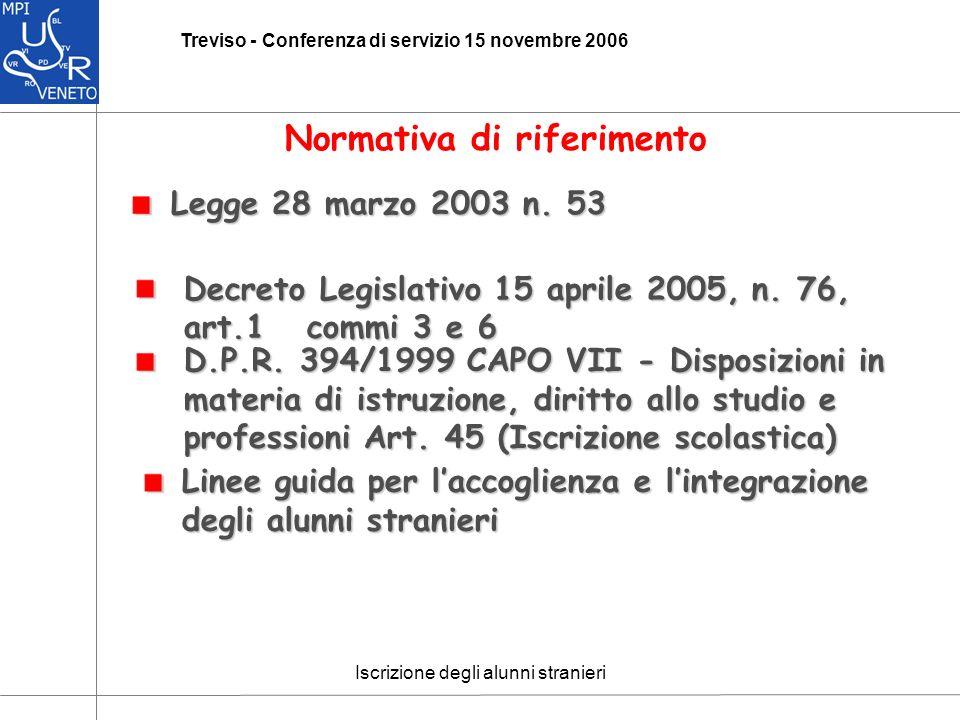 Iscrizione degli alunni stranieri Treviso - Conferenza di servizio 15 novembre 2006 Normativa di riferimento Decreto Legislativo 15 aprile 2005, n.