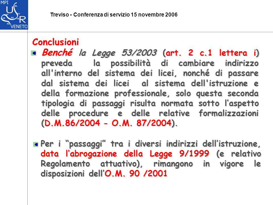 Treviso - Conferenza di servizio 15 novembre 2006 Conclusioni Benché la Legge 53/2003 (art.