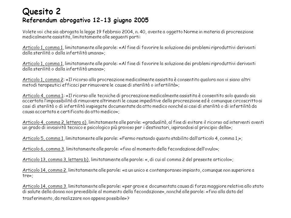Quesito 2 Referendum abrogativo 12-13 giugno 2005 Volete voi che sia abrogata la legge 19 febbraio 2004, n. 40, avente a oggetto Norme in materia di p
