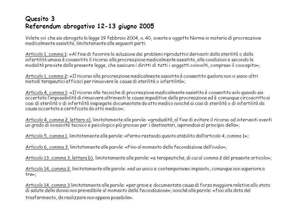 Quesito 3 Referendum abrogativo 12-13 giugno 2005 Volete voi che sia abrogata la legge 19 febbraio 2004, n. 40, avente a oggetto Norme in materia di p