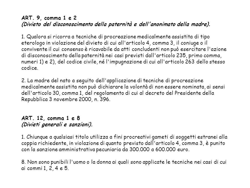 ART. 9, comma 1 e 2 (Divieto del disconoscimento della paternità e dell'anonimato della madre). 1. Qualora si ricorra a tecniche di procreazione medic