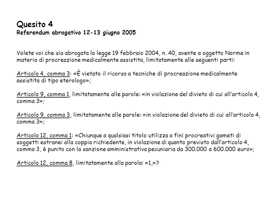 Quesito 4 Referendum abrogativo 12-13 giugno 2005 Volete voi che sia abrogata la legge 19 febbraio 2004, n. 40, avente a oggetto Norme in materia di p