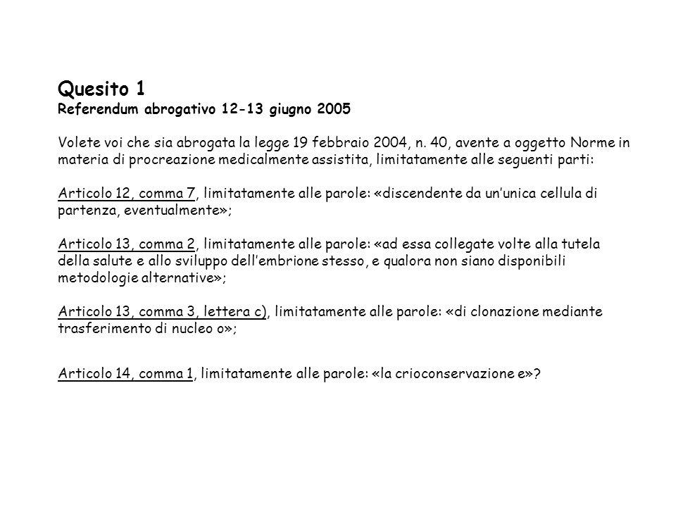 Quesito 1 Referendum abrogativo 12-13 giugno 2005 Volete voi che sia abrogata la legge 19 febbraio 2004, n. 40, avente a oggetto Norme in materia di p