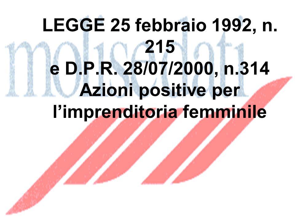 LEGGE 25 febbraio 1992, n. 215 e D.P.R.