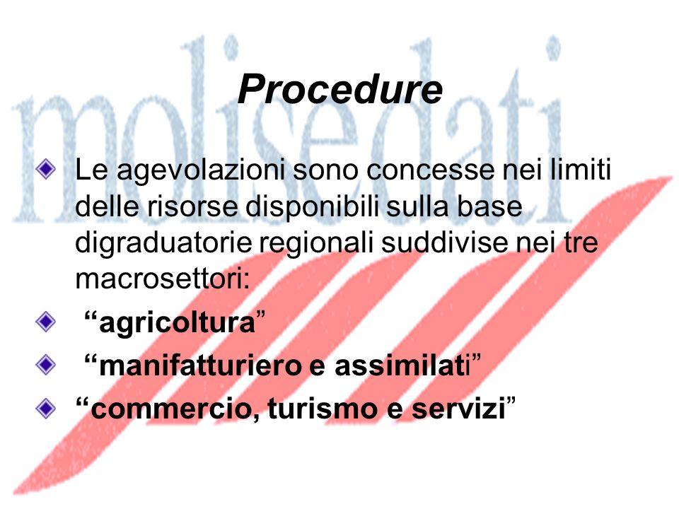 Procedure Le agevolazioni sono concesse nei limiti delle risorse disponibili sulla base digraduatorie regionali suddivise nei tre macrosettori: agricoltura manifatturiero e assimilati commercio, turismo e servizi