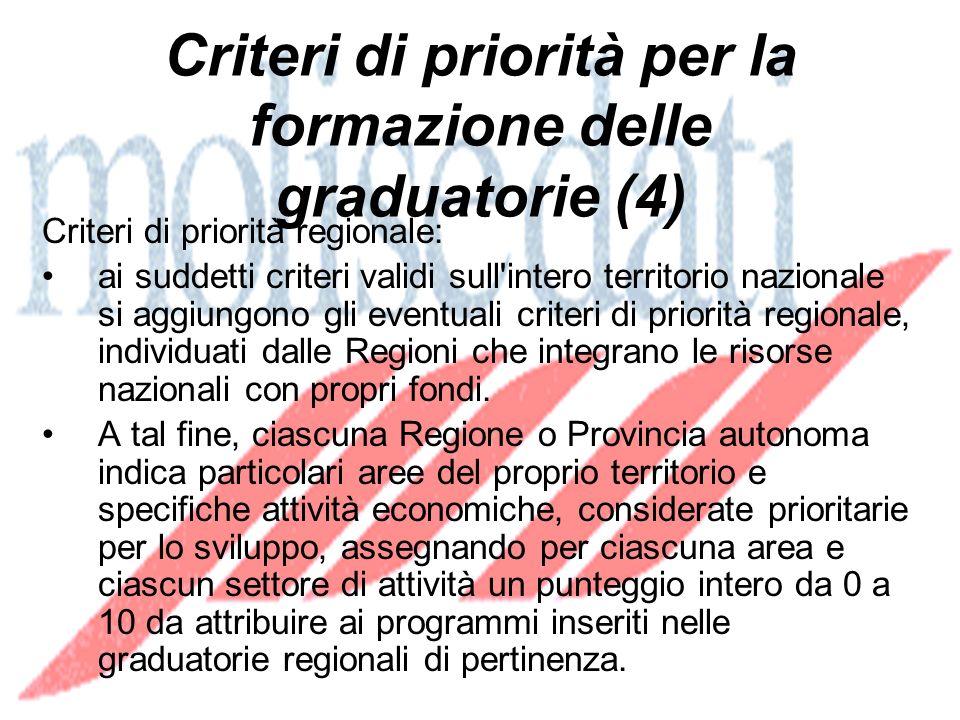 Criteri di priorità per la formazione delle graduatorie (4) Criteri di priorità regionale: ai suddetti criteri validi sull intero territorio nazionale si aggiungono gli eventuali criteri di priorità regionale, individuati dalle Regioni che integrano le risorse nazionali con propri fondi.