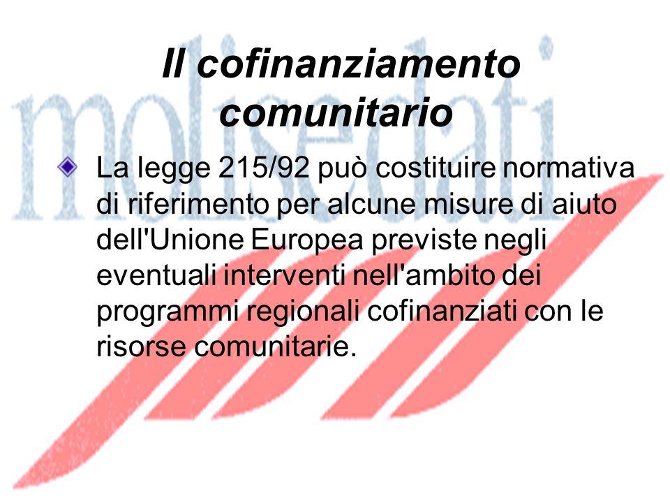 Il cofinanziamento comunitario La legge 215/92 può costituire normativa di riferimento per alcune misure di aiuto dell Unione Europea previste negli eventuali interventi nell ambito dei programmi regionali cofinanziati con le risorse comunitarie.