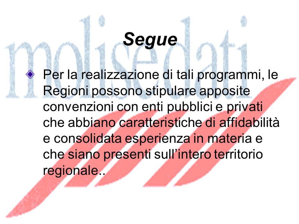 Segue Per la realizzazione di tali programmi, le Regioni possono stipulare apposite convenzioni con enti pubblici e privati che abbiano caratteristiche di affidabilità e consolidata esperienza in materia e che siano presenti sullintero territorio regionale..