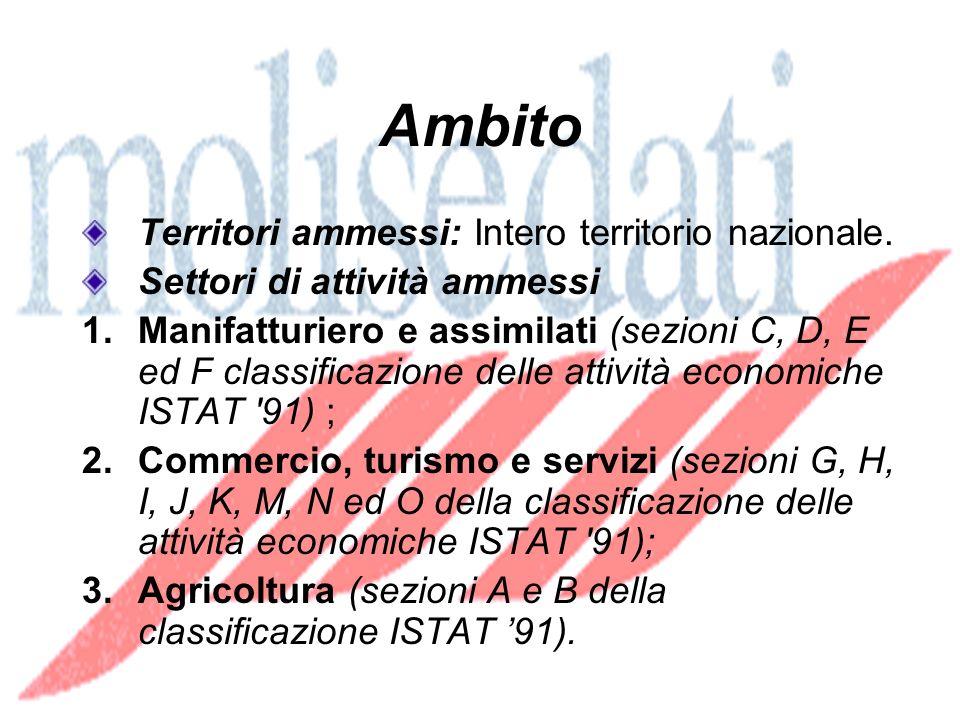 Ambito Territori ammessi: Intero territorio nazionale.